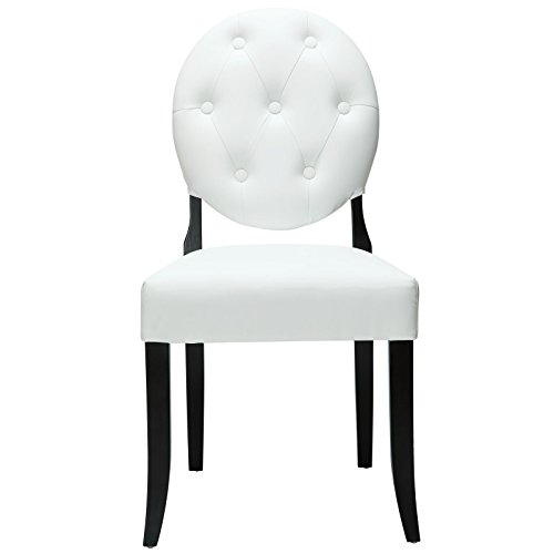 Modway Button Upholstered Faux Leather Dining Side Chair in White with Tufted Buttons