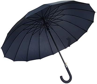 Paraguas clásico Negro de 16 Varillas Antiviento Gran tamaño XXL 120 cm Apertura automática