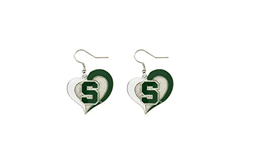 Michigan State Spartans Earrings - NCAA Michigan State Spartans Swirl Heart Earrings