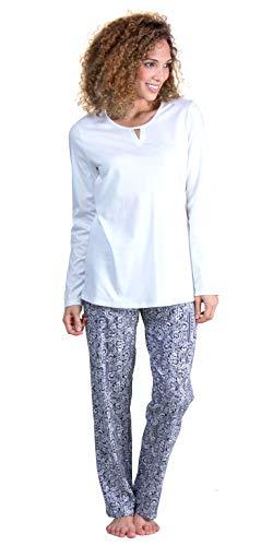 Calida Long Sleeve Pajamas Cotton Knit PJs in Navy Laurel (White/Navy Print, L)