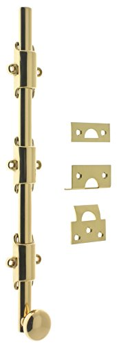 idh by St. Simons 11278-003 Premium Quality Solid Brass Heavy Duty Surface Bolt with Round Knob, 12-Inch, Polished from IDH by St. Simons