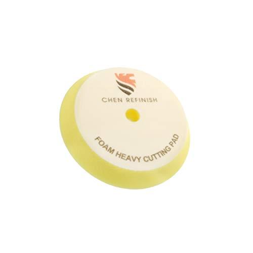 CHEN REFINISH Premium Quality Thickness 30mm Hook&Loop Bevelled Foam Pads Polishing Disc Car Beauty Polish Sponge Pads (Yellow, 7 inch)