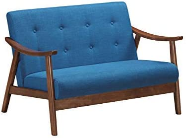Christopher Knight Home Buda Mid-Century Modern Settee, Navy Blue, Brown
