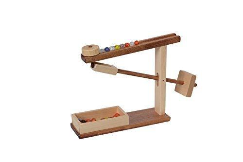 Amish-Made Wooden Marble Roller Machine Toy, Child-Safe Maple/Walnut Finish by AmishToyBox.com