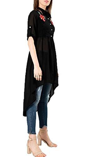Jaycargogo Moitié Des Femmes De Manchon Élastique Rose Robe Chemise Mousseline De Ceinture Noire