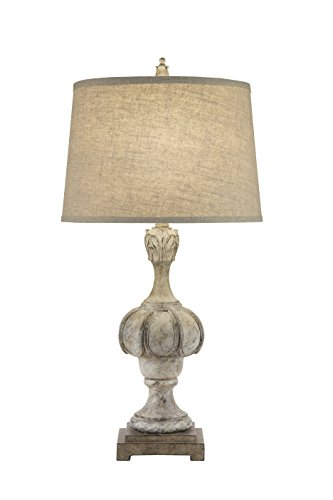 Spiral Resin Table Lamp - Catalina 19951-000 3-Way Weathered Distressed Wood Inspired Table Lamp with Oatmeal Linen Modified Drum Shade with Cream Silken Liner, 29.5