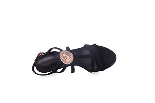 BalaMasa Girls Open-Toe Fashion Buckle Sheepskin Sandals Black PJliSrO412