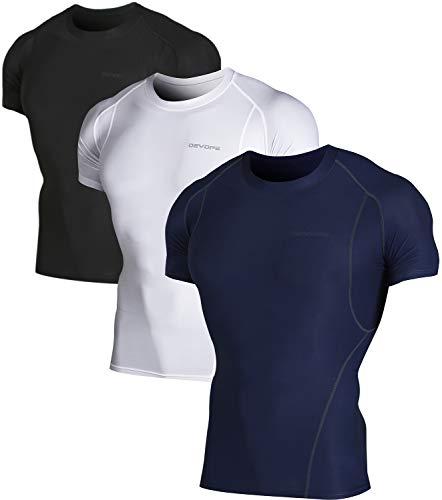 DEVOPS Men's 3 Pack Cool Dry Athletic Compression Short Sleeve Baselayer Workout T-Shirts (Medium, - T-shirt Sleeve Workout Short