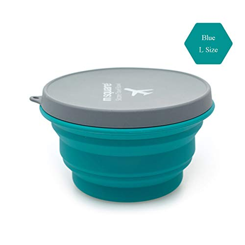 Multicolored-life Collapsible Bowl with Lid for Camping Hiking Travel Office Homes,Silicone Bowl with Lid BPA Free Food-Grade, Space-Saving,for Backpacking Handbag Duitcases (Blue,1000ml) ()