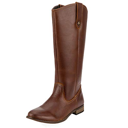 (SheSole Women's Fashion Genuine Leather Knee High Riding Boot Wide Calf Button Cognac US Size 6)
