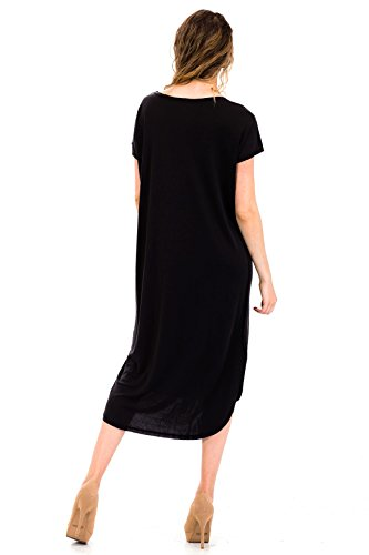 Basic Short Dress Black Midi Malibu Sleeve Days Casual Plain Ba74X6