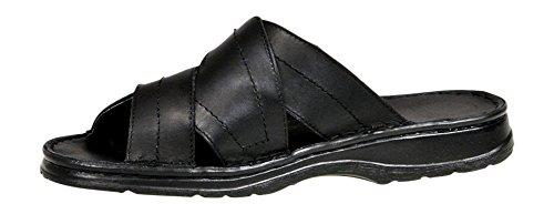 Herren Bequeme Sandalen Schuhe Mit Der Orthopadischen Einlage Aus Echtem Buffelleder Hausschuhe Modell 865 Schwarz