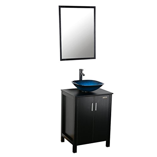 24' Bathroom Sink Basin (Eclife 20''x32''x24'' Modern Bathroom Vanity and Sink Combo Stand Cabinet and Square Blue Glass Vessel Sink and ORB Bathroom Sink Faucet and Brass Pop Up Drain & Mounting Ring A4B4)