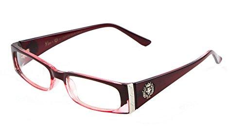Kleo Lion Head Slim Rectangular Eyeglasses / Clear Lens Sunglasses - Frames (Red , Clear & Silver, - Sunglasses Kleo