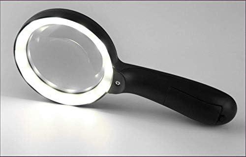 ZY-YY 12のLEDライト付きハンドヘルド10倍のガラスポータブル照明宝石拡大鏡、高齢者の読書ハイグレードギフト趣味コインスタンプジュエリー検査刺繍用