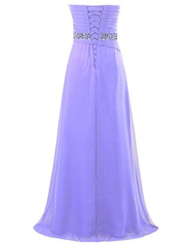 Fourmis Perle Sans Bretelles De Femmes Robes De Bal En Mousseline De Soie Violet Longue Robe De Soirée