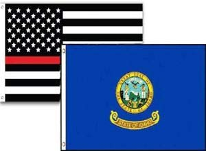 LuxMart 3x5 USA Thin Red Line Idaho State 2 Pack Flag Wholesale Set Combo 3'x5'