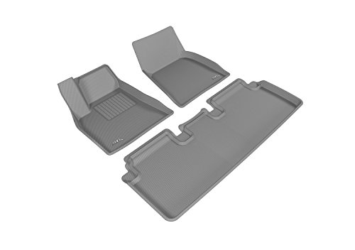 3D MAXpider Complete Set Custom Fit All-Weather Floor Mat for Select Tesla Model S Models - Kagu Rubber (Gray) by 3D MAXpider
