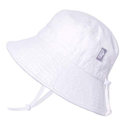JAN & JUL Girls Breathable Bucket Style Sun Hat 50 UPF, Adjustable Strap, Foldable (XL: 5-12Y, White -