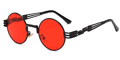 Retro hommes cadre Round inspiré soleil femmes Noir Lunettes de Rouge Transparent Steampunk et Circle XFentech pour lentille Metal dxHqw7dUF