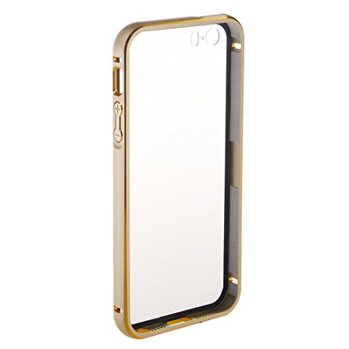 "Metall Abdeckung - SODIAL(R)Ultraduenne Aluminium Metall Huelle fuer iPhone 6Plus 5.5"" Golden + Transparent"