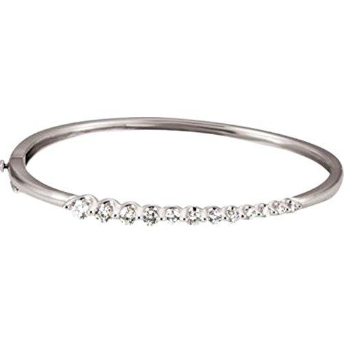14k White Gold Journey Diamond Bracelet - Bonyak Jewelry 1 ct tw Journey Diamond Bracelet in 14k White Gold