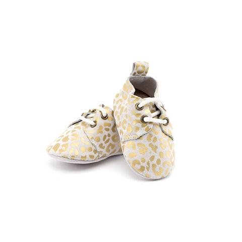 Piper Finn Gold Leopard Genuine Leather Oxford Shoes - Size 3 Up To 4.75