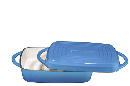 2 in 1 Enameled Cast Iron Square Casserole Baking Pan With Griddle Lid 2 in 1 Multi Baker Dish 11'' - Blue Whale by Bruntmor (Image #2)