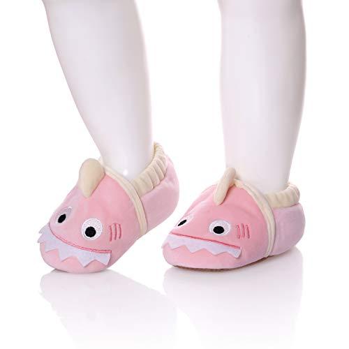 SDBING Toddler Baby Boys Girls Cute Cartoon Shark Shoes Soft Anti-slip Winter Home Slippers 6-24 Months (12-18 Months, Cute Shark Pink) by SDBING (Image #1)