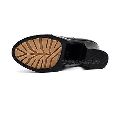 Formales 12 Tacones Black Otoño Zapatos Más ggx Lvyuan Negro Robusto Mujer Cms Casual Y Cuero Primavera Tacón p4gInqw