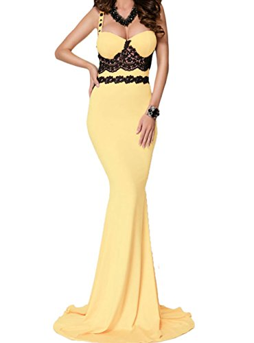 YeeATZ Black Lace Detail Yellow Long Prom Party Maxi Dress(Size,S) by YeeATZ
