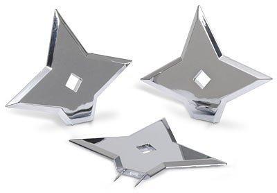 Doodad Brigade Ninja-Stars Cork-Board Push-Pins, Chrome Silver, Pack of 3