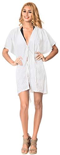 Rebeca Corta Cubierta Mantón La Kimono Verano De Mujeres Blanco Leela Las Del Cubre Llanura Que Superior a432 Sólida Algodón zqB5xPqw