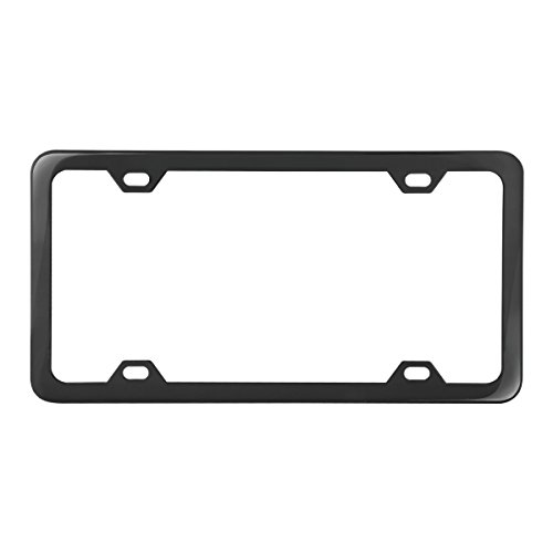 Grand General 60415 Black Semi-Gloss Powder Coated License Plate Frame with 4 Holes (Powder Coated Semi Gloss)