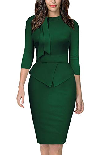 (Moyabo Outdoor Office Business Midi Dress Tie Collar Elbow Sleeves High Wasit Work Pencil Dress Green Small)