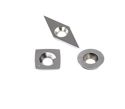 YUFUTOL 3pcs Tungsten Carbide Cutters Inserts Set for Wood Lathe Turning Tools(Include 11mm Square With Radius,12mm Round,28x10mm Diamond With sharp point),Supplied with Screws