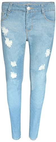 WallFlower Girl's Skinny Soft Stretch Jeans with Rips and Tears, Medium Light Wash 10' by WallFlower