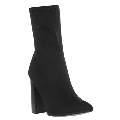 Public Desire Womens Libby Flared Heel Ankle Boots Shoes Black Lycra US 7 (UK 5 / EU 38) from PUBLIC DESIRE