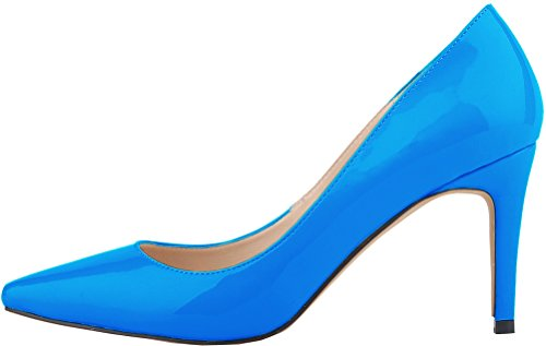 Salabobo Womens Sexy Pointed Toe Stiletto Wedding Work All Match PU Pumps Sblue OWTXooPW9