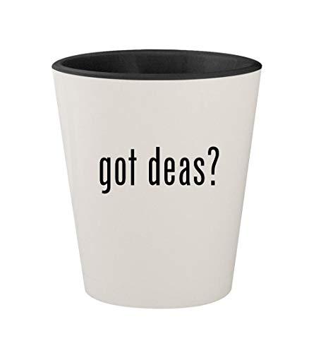 got deas? - Ceramic White Outer & Black Inner 1.5oz Shot Glass