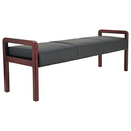 Alera ALERL2419M Reception Lounge WL Series Bench, 65 3/4 x 22 1/4 x 22 7/8, Black/Mahogany by Alera (Image #5)