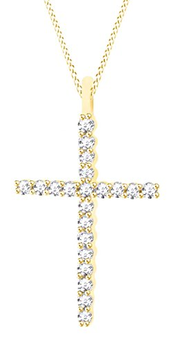 0.30 Carat (Cttw) 14K Solid Yellow Gold Round Diamond Ladies Cross Pendant 1/3 CT (Silver Chain in cluded)