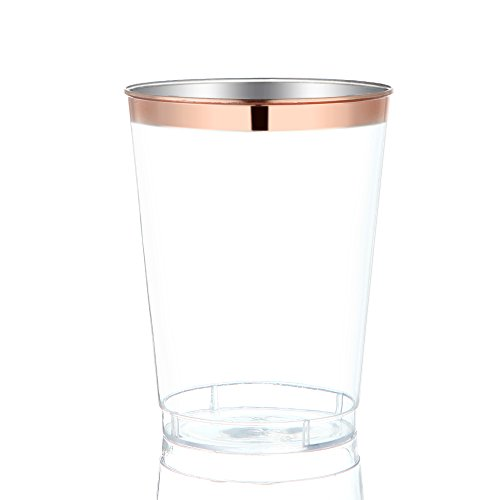9 Oz Rose Gold Plastic Cups Disposable Clear With Rim Hard Party