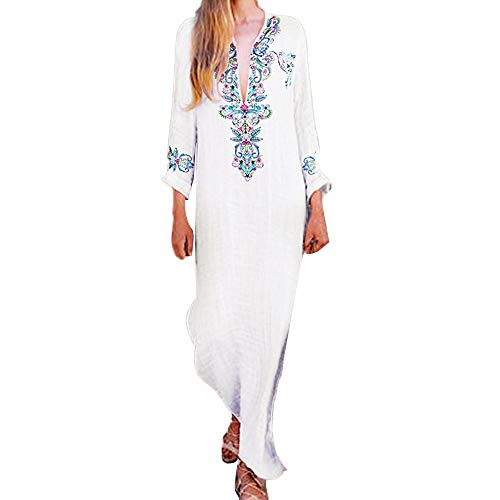 - Womens Long Sleeve KIKOY Fashion Printed V-neck Maxi Dress Hem Baggy Long Dress