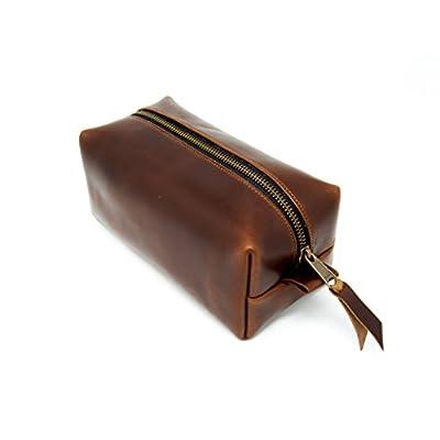 6105642d3f42 lovely Genuine Leather Dopp Kit Portable Men's Toiletry Bag for ...