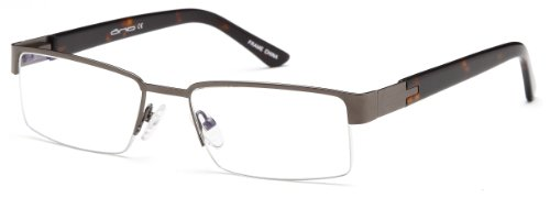 Mens Semi Rimless Glasses Frames Gunmetal Prescription Eyeglasses Rxable - Rimless Semi Eyeglasses Online