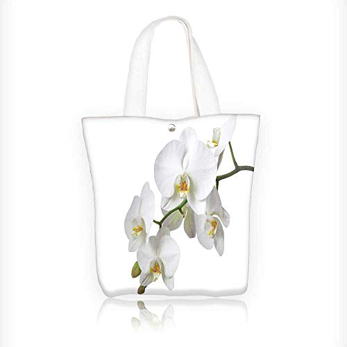 (Canvas Shoulder Hand Bag a tender white orchid isolated on white background Tote Bag for Women Large Work tote Bag Shoulder Travel Totes Beach Bag W11xH11xD3 INCH)