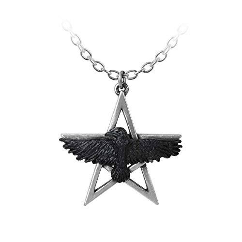 Pentagram Gothic Batcave Rabe Wicca Anhänger Talisman Corvus Corax Alchemy