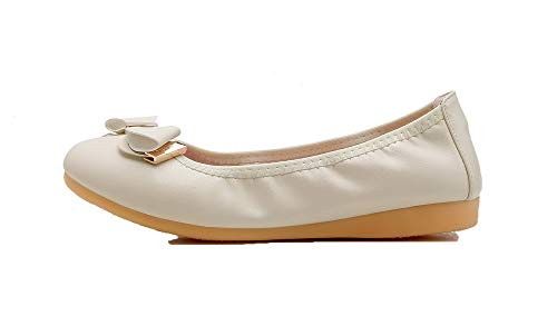 Tirare Beige Tacco FBUIDC010997 Donna Ballet Flats Tonda Puro Punta AllhqFashion Basso 5qZwOvv