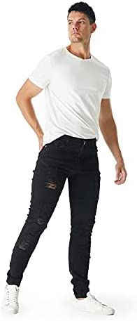 310OLJmpVIS. AC bindu Black Men's Jeans Ripped Stretchy, Skinny Denim Pants with Holes, Black Jean for Men,2021trendy Jeans for Men    ★Black ripped slim jeans for men 18--45years old ★☛Stylish Street Style Design: Suitable for outdoor activities or relaxed weekends☛Men's black teared jeans can match light-colored clothes to meet the full fashion look☛Denim cleaning: 1.machine washing, 2. turn it out inside the jeans ,3. with same color clothe✉We recommend choosing more than two Asian sizes that you often wear, and additional unsuitable sizes can contact customer service to return product and postage